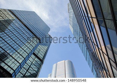 High Rise Buidling in Central, business district in Hong Kong - stock photo