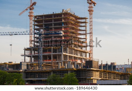 High-rise building under construction. - stock photo