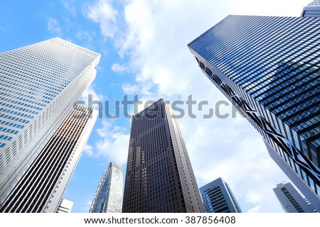High-rise buildings and blue sky - Shinjuku, Tokyo, Japan - stock photo