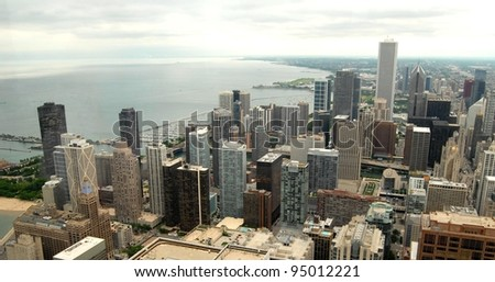 High Rise Buildings at Downtown Chicago, Illinois USA - stock photo