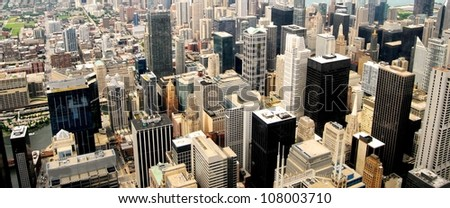 High Rise Buildings at Downtown Chicago Panorama, Illinois - stock photo