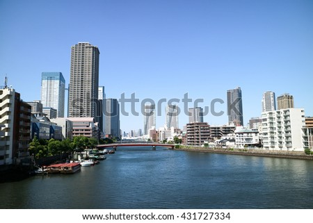 High-rise buildings of Harumi and river(Japan)