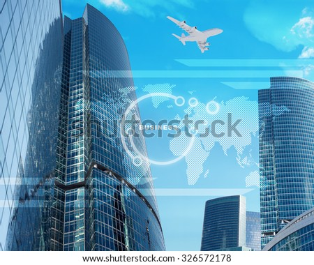 High-rise buildings with world map and jet on blue sky background