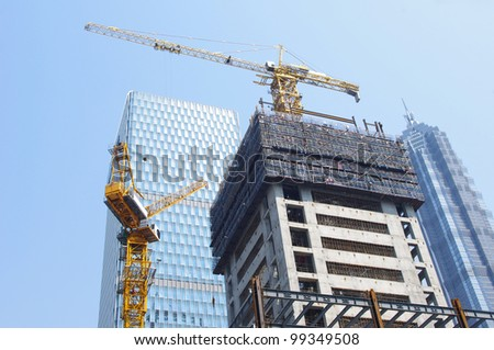 High-rise construction in Shanghai - stock photo