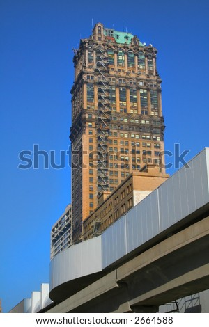 High rise historic buildings in downtown Detroit - stock photo