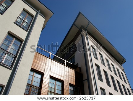 high-rise house on blue sky background