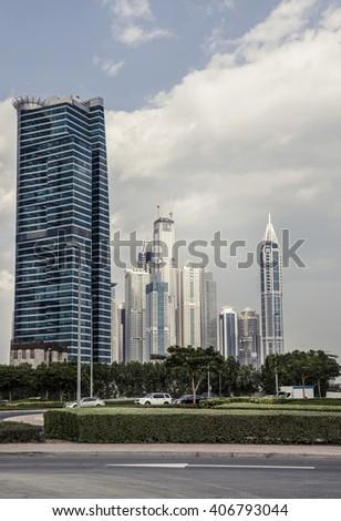 High rise towers at Dubai Marina. UAE. - stock photo