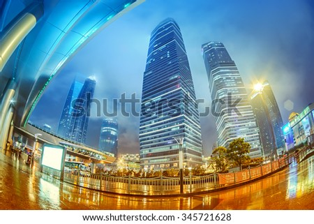 High-rises in Shanghai's new Pudong banking and business district, across the Huangpu river from the old city - stock photo