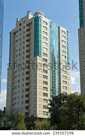 high-rising apartements in the Medeu District - stock photo