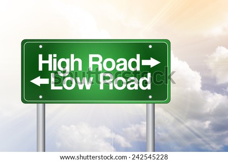 High Road, Low Road Green Road Sign, business concept - stock photo
