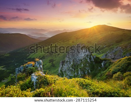 High rocks during sunset. Beautiful natural landscape - stock photo