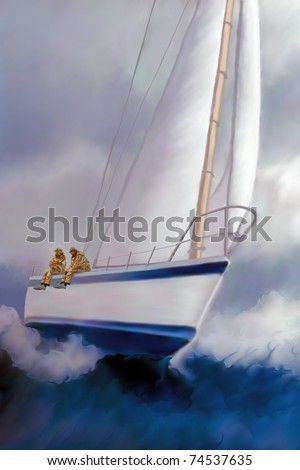 HIGH ROLLER SAILING - Two sailors enjoy the excitement of rough seas and the ride of a sailboat heeling over. - stock photo