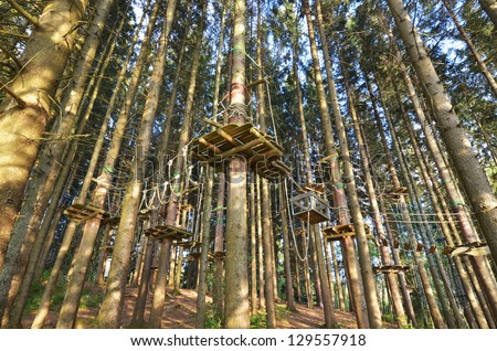 high ropes course in forest - stock photo