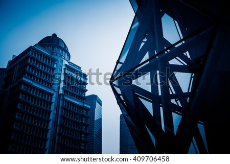 high scetion of skyscrape,shanghai china,blue toned image. - stock photo