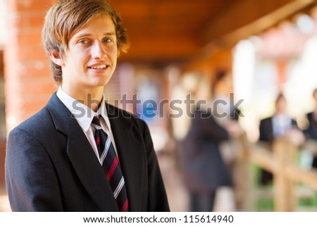 high school boy closeup portrait - stock photo