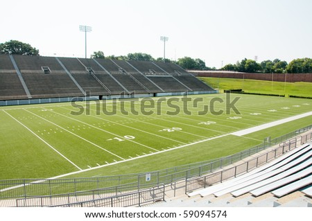High school football stadium showing entire field.