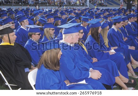 High school graduates at their commencement ceremony, Nordhoff High School, Ojai, CA - stock photo