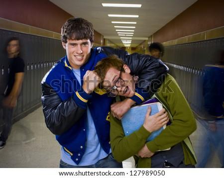High School Jock and Nerd. - stock photo