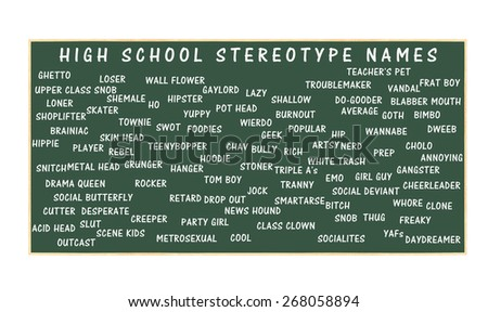 High School Stereotypes Chalkboard isolated on white background - stock photo