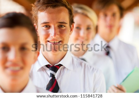 high school students group portrait - stock photo