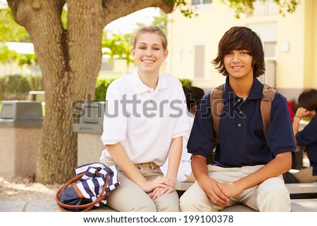 High School Students Wearing Uniforms On School Campus