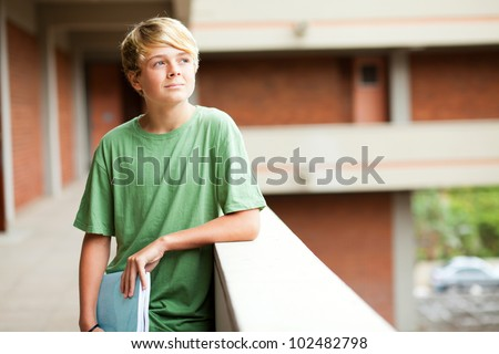 high school teen student daydreaming - stock photo