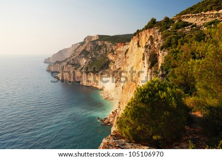 High Seaside Cliffs on the island of Zakynthos - stock photo