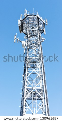 high section of a modern communication tower