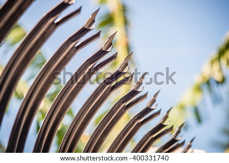 high security spiked fence - stock photo