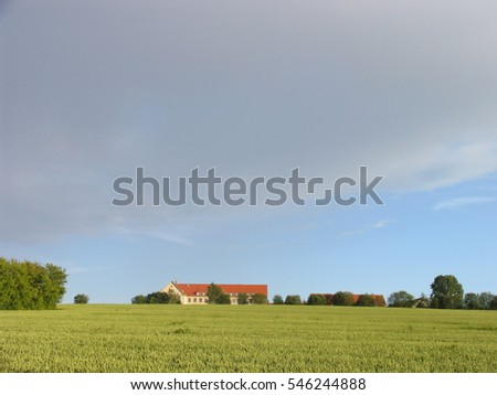 high sky above green field in countryside, Dresden, Saxony