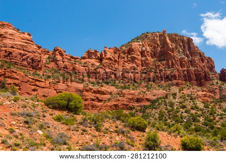 High southwestern red rock desert mountains - stock photo