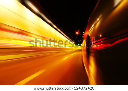 High-speed car in the tunnel, Motion Blur - stock photo