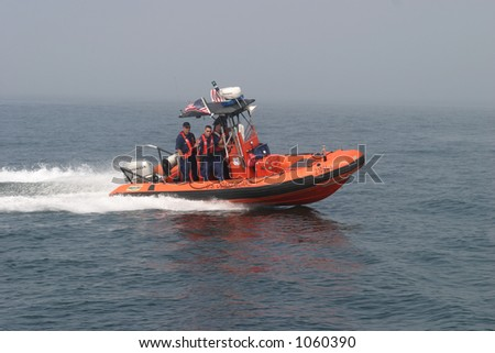 High speed Coast Guard patrol boat. Editorial use only. - stock photo
