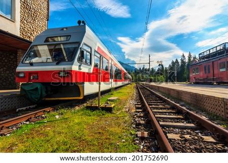 High speed electric train at the station,Strbske Pleso,Vysoke Tatry (High Tatras),Slovakia - stock photo