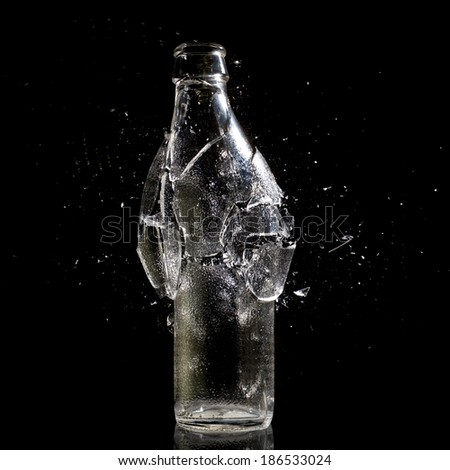 high speed photo of bottle explosion - stock photo