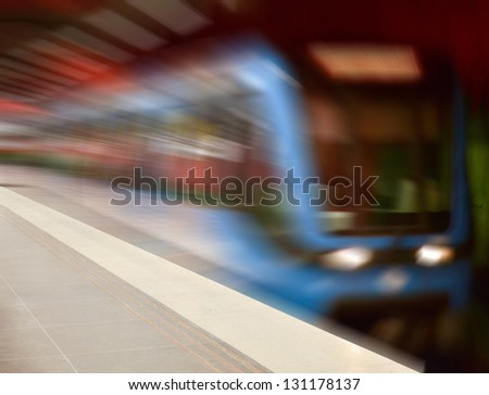 High speed subway train  in motion blur