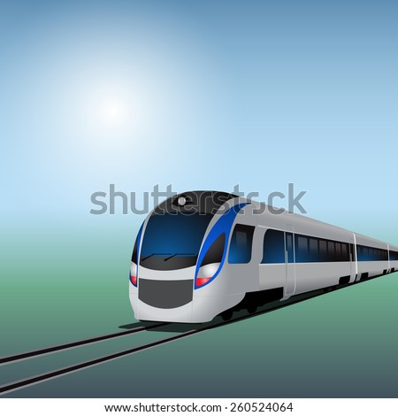High-speed train at sunny day - stock photo