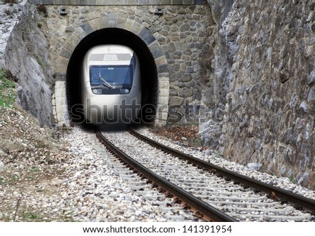 High-speed train in the tunnel - stock photo
