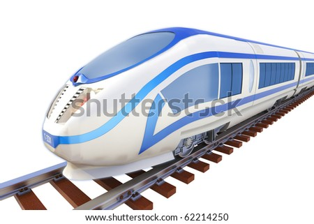 High speed train isolated - stock photo