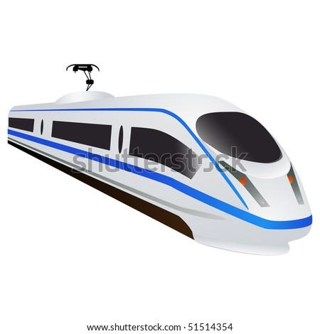 High speed train, locomotive isolated on white - stock photo