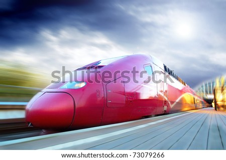 High-speed train with motion blur outdoor - stock photo