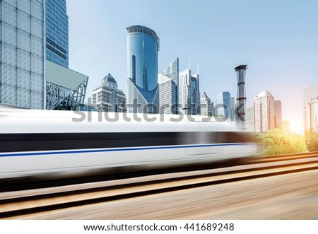 High-speed trains in the Shanghai Lujiazui City background