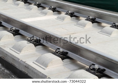High Speed Trains rail track - stock photo