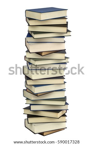 High stack hard cover books isolated on white