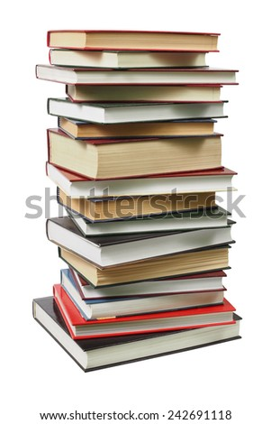 High stack of books isolated on white background - stock photo