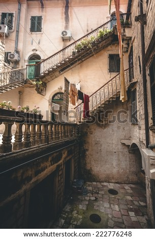 High stairways at backyard of ancient building