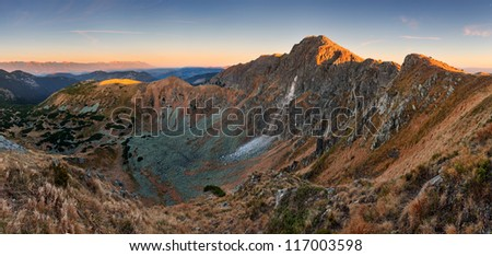 High Tatra mountains in autumn, seen from Lower tatra Mountains at Dumbier, Western Carpathians, Slovakia. - stock photo