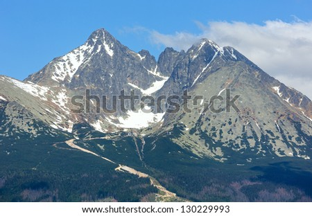 High Tatras spring view with snow on mountainside (Slovakia)