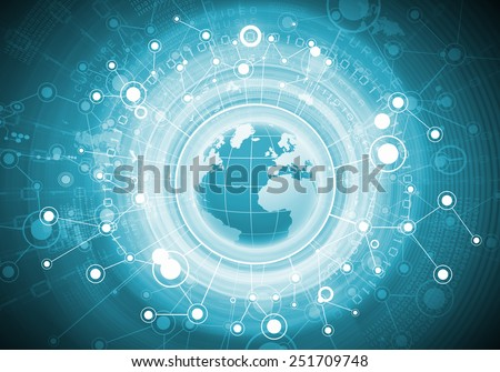 High tech background image with earth planet and connection lines - stock photo