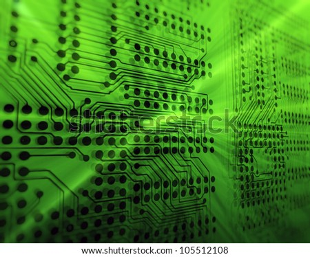 High tech background - Printed circuit board - stock photo